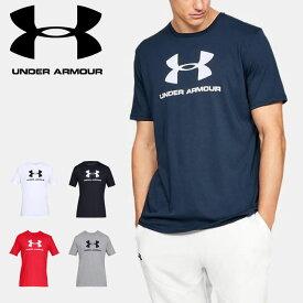 ネコポス アンダーアーマー メンズ シャツ 半袖 UA スポーツスタイル ロゴ ショートスリーブ Tシャツ カジュアル トレーニング ルーズ ヒートギア 1329590 UNDER ARMOUR