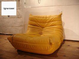 Superbe Ligne Roset SALE And Learn Lose TOGO / Togolese 1 Seat Sofa Leather Yellow  France Price 248,400 Yen 378,000 Yen