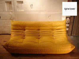 SALE Ligne Roset / Lean Rose TOGO/ Togo 3 Sheet Sofa Hides Yellow France  List Price 410,400 Yen   648,000 Yen