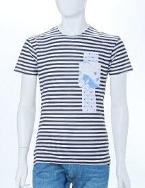 ダニエレアレッサンドリーニ DANIELEALESSANDRINI Tシャツ 半袖 丸首 ボーダー メンズ M5383E6113501 ブラック 楽ギフ_包装 送料無料 目玉商品