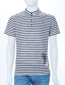 ダニエレアレッサンドリーニ DANIELEALESSANDRINI ポロシャツ 半袖 ヘンリーネック ボーダー メンズ M5473E6143501 ブラック 楽ギフ_包装 送料無料 目玉商品