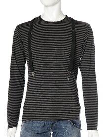 ダニエレアレッサンドリーニ DANIELEALESSANDRINI ロングTシャツ ロンT 長袖 丸首 MAGLIA BRACES ML ST メンズ M5618E6283506 ブラック×グレー 送料無料 楽ギフ_包装