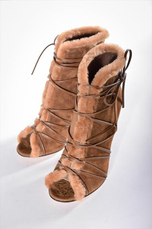 2016年秋冬新作 ジャンヴィトロッシ GIANVITO ROSSI ジャンヴィト ロッシ パンプス グラディエーター オープントゥ 靴 レディース G50998 CAMOSCIO ブラウン 送料無料 SALE16AW