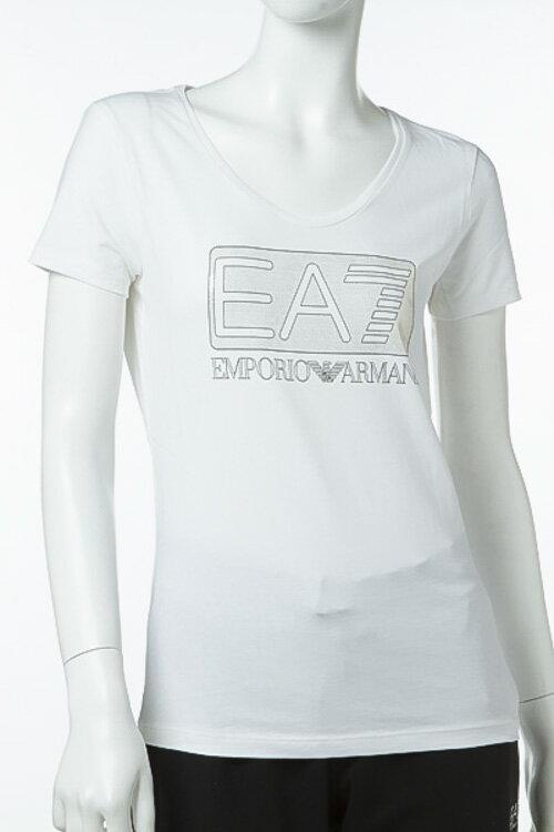 アルマーニ エンポリオアルマーニ Emporio Armani EA7 Tシャツ 半袖 丸首 レディース 3YTT86 TJ12Z ホワイト 送料無料 楽ギフ_包装