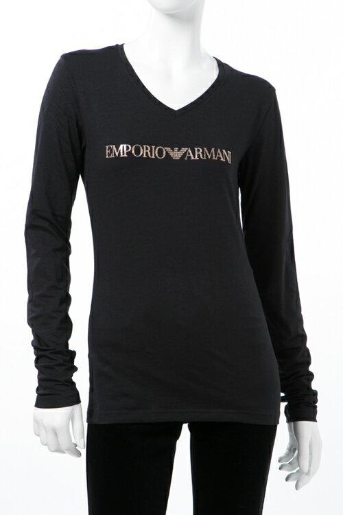 アルマーニ エンポリオアルマーニ Emporio Armani Tシャツアンダーウェア ロングTシャツ ロンT 長袖 Vネック レディース 163141 7A225 ブラック 送料無料 楽ギフ_包装