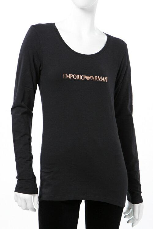 アルマーニ エンポリオアルマーニ Emporio Armani Tシャツアンダーウェア ロングTシャツ ロンT 長袖 丸首 レディース 163378 7A263 ブラック 送料無料 楽ギフ_包装