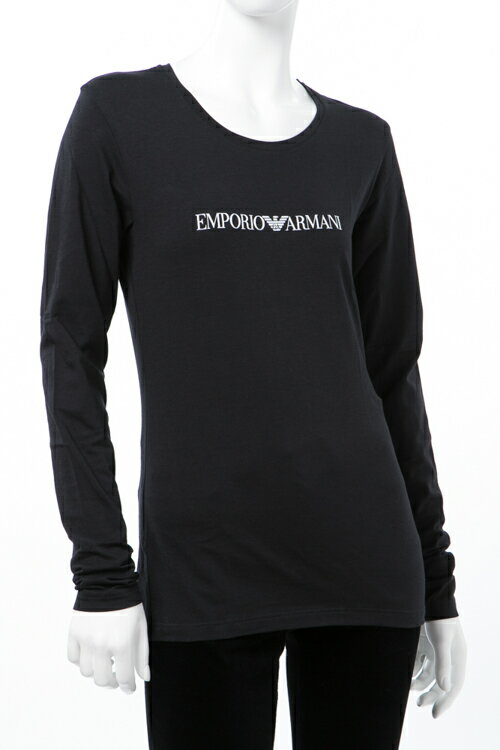 アルマーニ エンポリオアルマーニ Emporio Armani Tシャツアンダーウェア ロングTシャツ ロンT 長袖 丸首 レディース 163229 7A317 ブラック 送料無料 楽ギフ_包装