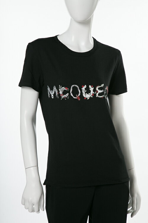 アレキサンダーマックイーン AlexanderMcQueen Tシャツ 半袖 丸首 レディース 507108 QKZ08 ブラック 送料無料 楽ギフ_包装 2018年春夏新作 2018SS_SALE