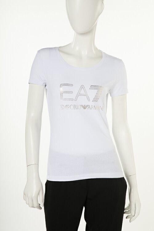 アルマーニ エンポリオアルマーニ Emporio Armani EA7 Tシャツ 半袖 丸首 レディース 3ZTT82 TJ12Z ホワイト 送料無料 楽ギフ_包装