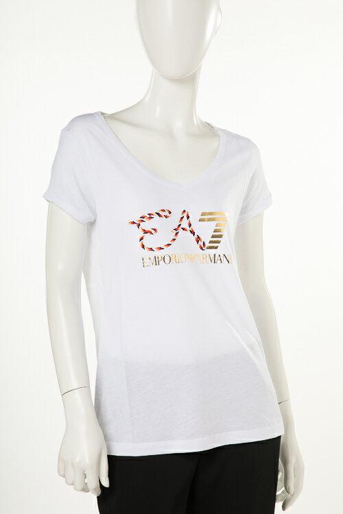 アルマーニ エンポリオアルマーニ Emporio Armani EA7 Tシャツ 半袖 Vネック レディース 3ZTT86 TJ52Z ホワイト 送料無料 楽ギフ_包装