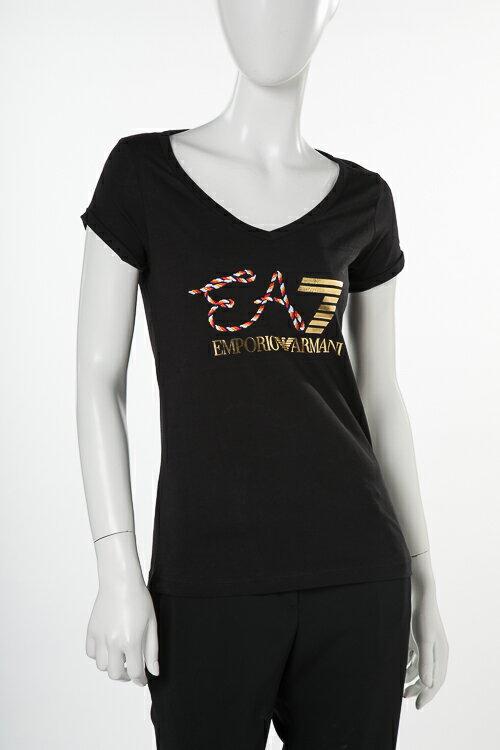 アルマーニ エンポリオアルマーニ Emporio Armani EA7 Tシャツ 半袖 Vネック レディース 3ZTT86 TJ52Z ブラック 送料無料 楽ギフ_包装