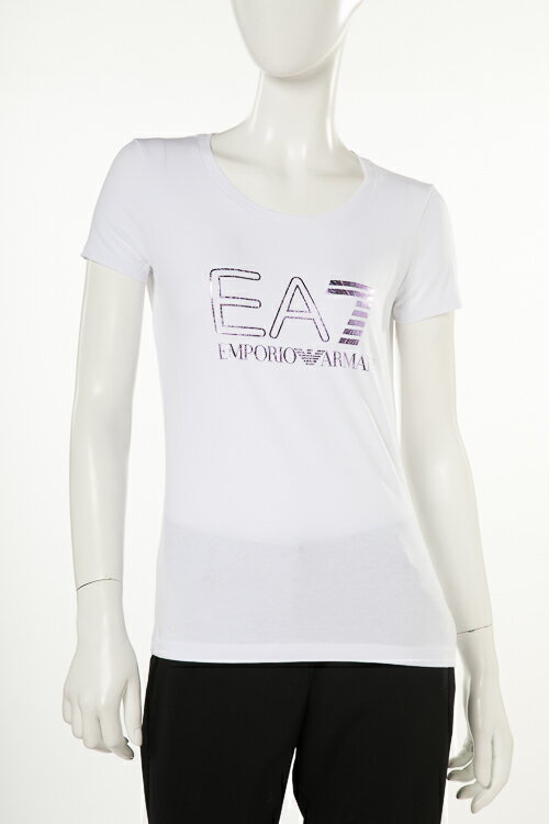 アルマーニ エンポリオアルマーニ Emporio Armani EA7 Tシャツ 半袖 丸首 レディース 3ZTT85 TJ12Z ホワイト 送料無料 楽ギフ_包装