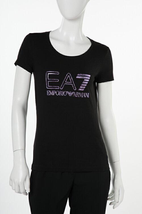 アルマーニ エンポリオアルマーニ Emporio Armani EA7 Tシャツ 半袖 丸首 レディース 3ZTT85 TJ12Z ブラック 送料無料 楽ギフ_包装