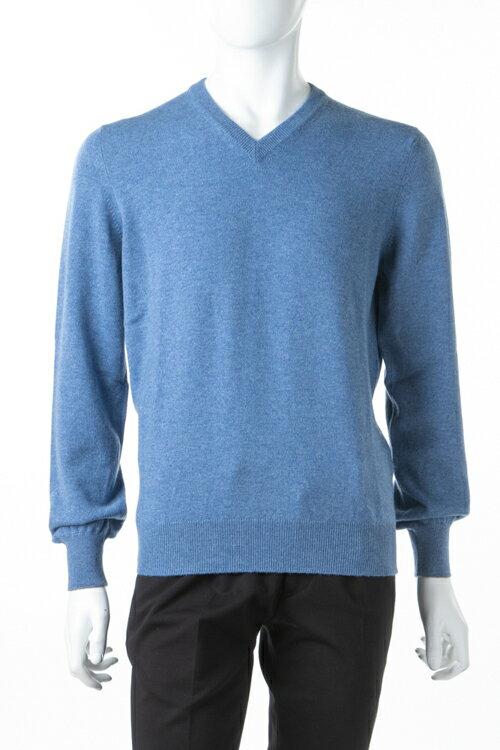 ブルネロクチネリ BRUNELLO CUCINELLI セーター ニット 長袖 Vネック メンズ M2200162Y ブルー 送料無料 楽ギフ_包装