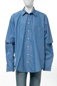 バレンシアガ BALENCIAGA シャツ ストライプシャツ 長袖 メンズ 595219 TGM07 ブルー 送料無料 楽ギフ_包装