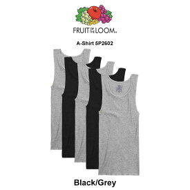 FRUIT OF THE LOOM(フルーツオブザルーム)タンクトップ 5枚セット Black/Grey A-Shirt 5P2602