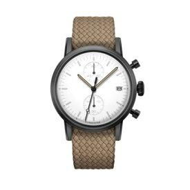 UNDONE MODERN WHITE メカクォーツ腕時計 【ブラックPVD コーティング パーロンベルト ベージュ】