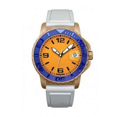 UNDONE AQUA CERAKOTE 腕時計【自動巻機械式 セラコーテ サンドケース セラミック ブルー ラバーベルト ホワイト】