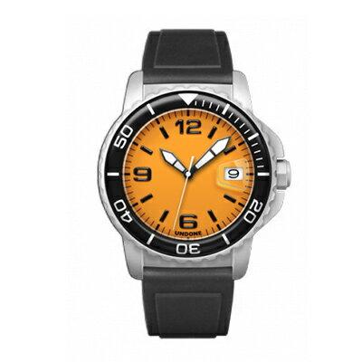 UNDONE AQUA CERAKOTE 腕時計 オレンジ【自動巻機械式 セラコーテ ホワイト K1強化鉱物ガラス ブラック ラバーベルト】