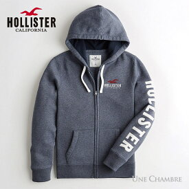 ホリスター メンズ アップリケロゴグラフィック フーディー ジップアップパーカー Hollister Logo Graphic Hoodie ヘザーネイビー