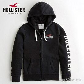 ホリスター メンズ アップリケロゴグラフィック フーディー ジップアップパーカー Hollister Logo Graphic Hoodie ブラック