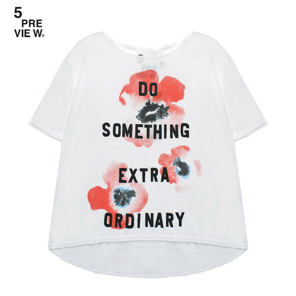 5PREVIEW (ファイブプレビュー) EMMIE POPPY T-SHIRT (WHITE) [Tシャツ/カットソー/プリント/ポピー/フローラル/花柄/UNISEX] [ホワイト]