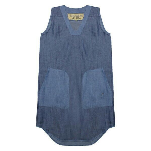 5PREVIEW (ファイブプレビュー) ARYA CHAMBRAY DRESS (BLOCK BLUE) [ワンピース/ノースリーブ/デニム/シャンブレー/WOMEN] [ブルー]
