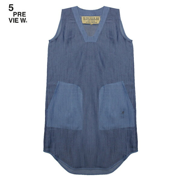 5PREVIEW (ファイブプレビュー) ARYA CHAMBRAY DRESS (BLOCK BLUE) [ワンピース/ノースリーブ/デニム/WOMEN] [ブルー]