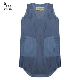 【半額50%OFFセール】5PREVIEW (ファイブプレビュー) ARYA CHAMBRAY DRESS (BLOCK BLUE) [ワンピース ノースリーブ デニム シャンブレー ブランド ストリート レディース ユニセックス WOMEN] [ブルー]