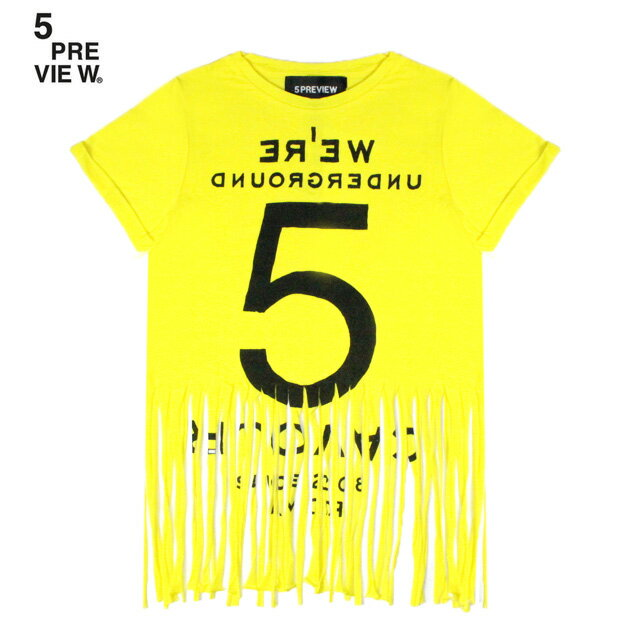 5PREVIEW (ファイブプレビュー) SYBIL FRINGED TEE - NEW 55 (YELLOW) [Tシャツ/カットソー/フリンジ/プリント/グラフィック/ロゴ/WOMEN] [イエロー]