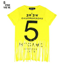5PREVIEW (ファイブプレビュー) SYBIL FRINGED TEE - NEW 55 (YELLOW) [Tシャツ カットソー トップス ブランド フリンジ プリント グラフィック ロゴ ストリート レディース 半袖 WOMEN] [イエロー]