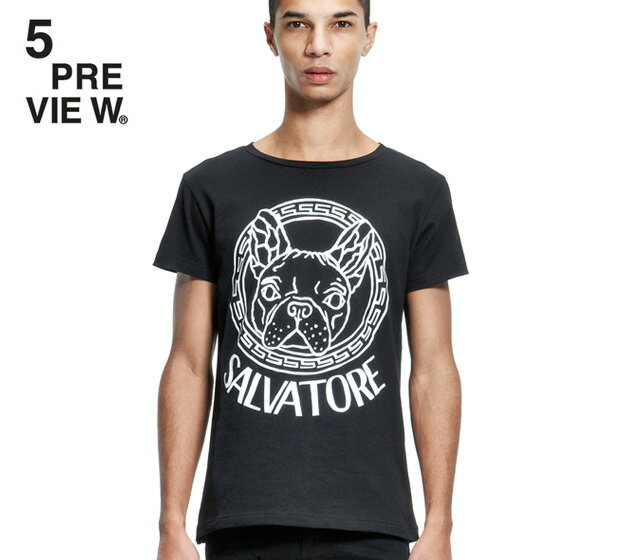 5PREVIEW (ファイブプレビュー) SALVATORE T-SHIRT (BLACK) [Tシャツ/カットソー/プリント/グラフィック/ロゴ/UNISEX] [ブラック]