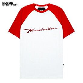 BLOOD BROTHER (ブラッド ブラザー) MANIA T-SHIRT (WHITE/RED) [Tシャツ カットソー ラグラン メンズ ユニセックス] [ホワイト/レッド]