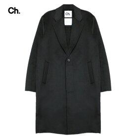 CHAPTER (チャプター) JORD OVERCOAT (BLACK) [チェスターコート アウター ブランド ステンカラー ロング フォーマル ストリート モード メンズ レディース ユニセックス UNISEX] [ブラック]