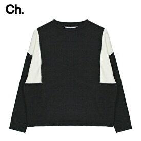 CHAPTER (チャプター) RIV SWEATER (BLACK/WHITE) [ウールニット セーター トップス オーバーサイズ ビッグシルエット ブランド バイカラー ストリート モード グランジ メンズ レディース ユニセックス UNISEX] [ブラック/ホワイト]