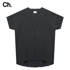CHAPTER (チャプター) VERO WOVEN SHIRT (BLACK) [Tシャツ カットソー トップス ブランド フレンチスリーブ リネン ストリート モード メンズ レディース ユニセックス 無地 半袖 UNISEX] [ブラック]