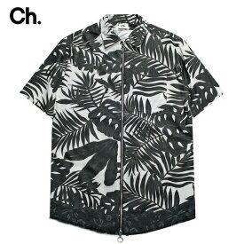 CHAPTER (チャプター) OME ZIP UP SHIRT (BLACK/WHITE FLORAL) [ジップアップシャツ トップス ブランド カジュアル ドレス アロハ フローラル ストリート モード メンズ ユニセックス 花柄 半袖 半袖] [ブラック/ホワイト フラワー]