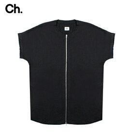 CHAPTER (チャプター) ALTER WOVEN SHIRT (BLACK) [ジップアップTシャツ カットソー トップス ブランド フレンチスリーブ リネン カジュアル ストリート モード メンズ レディース ユニセックス 無地 半袖 UNISEX] [ブラック]