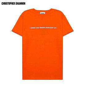 【半額50%OFFセール】CHRISTOPHER SHANNON (クリストファー シャノン) EMBROIDERED CS T-SHIRT (ORANGE) [Tシャツ カットソー トップス ブランド グラフィック ロゴ ストリート モード スポーツ スケート メンズ ユニセックス 半袖] [オレンジ]