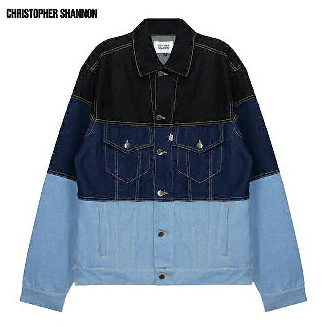 CHRISTOPHER SHANNON (クリストファー シャノン) OVERSIZED DENIM BLOCKED JACKET (BLUE) [デニムジャケット/カラーブロッキング/オーバーサイズ/UNISEX] [ブルー]