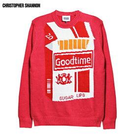 CHRISTOPHER SHANNON (クリストファー シャノン) GOD TIME KNIT (RED) [ニット セーター クルーネック トップス ブランド グラフィック ロゴ ストリート スケート モード グランジ メンズ レディース ユニセックス UNISEX] [レッド]