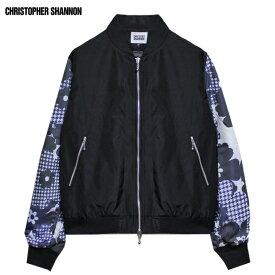 CHRISTOPHER SHANNON (クリストファー シャノン) FLORAL PRINT SLEEVE BOMBER (BLACK) [ボンバージャケット ブルゾン アウター ブランド フローラル ストリート モード メンズ ユニセックス 切り替え 花柄 MA-1] [ブラック]