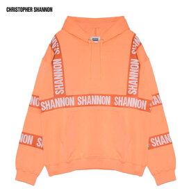 CHRISTOPHER SHANNON (クリストファー シャノン) HOODED SWEATSHIRT WITH PRINT (FLUORO PEACH) [プルオーバーフーディ パーカー スウェット オーバーサイズ ビッグシルエット ブランド ストリート メンズ ユニセックス] [ピーチ]