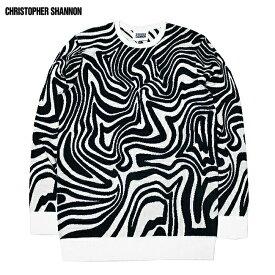 CHRISTOPHER SHANNON (クリストファー シャノン) SWIRL KNIT (BLACK/WHITE) [ニット セーター クルーネック トップス ブランド グラフィック ゼブラ ストリート モード グランジ メンズ ユニセックス] [ブラック/ホワイト]