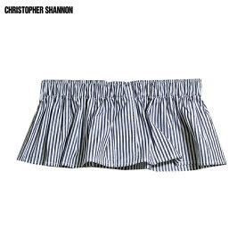 CHRISTOPHER SHANNON (クリストファー シャノン) ELASTICATED BOXER SHORT TOP (GREY STRIPE) [ウエストバンド/ベルト/ピンストライプ/レイヤード/UNISEX] [グレー/ストライプ]