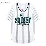 CRUWELF(クルーウェルフ)SOICEYJERSEY(WHITE/MINTGREEN)[Tシャツ半袖ブランドストリートジャージVネックカットソートップスラップヒップホップスポーツメンズレディースユニセックスUNISEX][ブルーグレー]