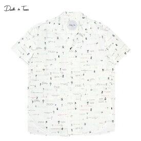DEATH TO TENNIS (デス トゥ テニス) BUDD ALLOVER PRINT SHIRT (WHITE) [オープンカラーシャツ 開襟シャツ オーバーサイズ ビッグシルエット ブランド アロハ カジュアル グラフィック ストリート メンズ レディース ユニセックス 半袖 UNISEX] [ホワイト]
