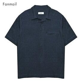 FANMAIL (ファンメール) UNIFORM SHIRT SS (NAVY) [オープンカラーシャツ トップス ブランド ボタン ドレス キューバ アロハ オーガニック カジュアル ストリート メンズ レディース ユニセックス 開襟 無地 半袖 UNISEX] [ネイビー]