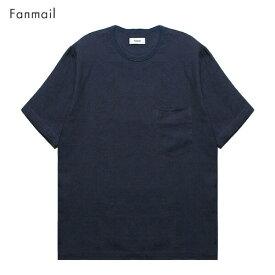 【半額50%OFFセール】FANMAIL (ファンメール) WOVEN T-SHIRT (NAVY) [Tシャツ カットソー トップス ブランド オーガニック カジュアル ストリート メンズ レディース ユニセックス 無地 半袖 UNISEX] [ネイビー]