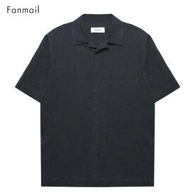 FANMAIL (ファンメール) UNIFORM SHIRT SS (BLACK CREPE) [オープンカラーシャツ 開襟シャツ トップス ブランド ボタン キューバ アロハ ドレス オーガニック カジュアル ストリート メンズ ユニセックス 無地 半袖] [ブラック]